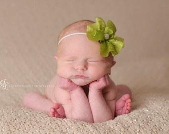 green baby head band, baby headband, newborn headband