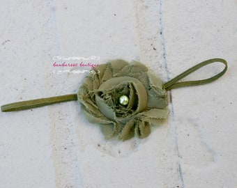 Baby Headbands, Baby Girl headbands, Newborn Headband, Moss Green Flower Headband