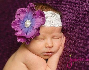 baby Headband, Purple Flower headband, newborn headband, Photography props
