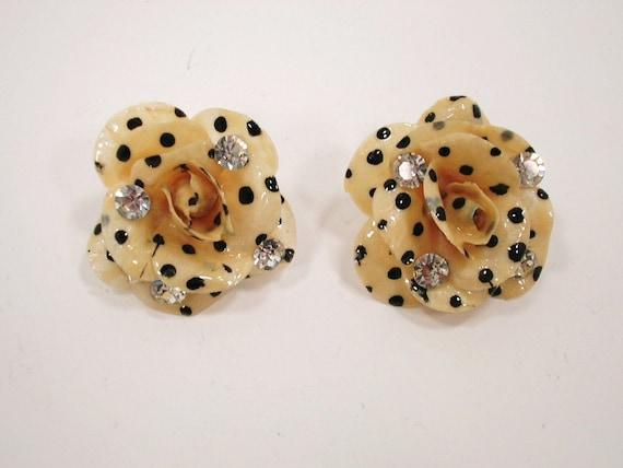 Vintage Victorian Polka Dot Flower Clip On Earrings Pair