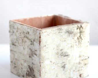 Birch Bark Vase Flower Pot Centerpiece Home Decor Wedding Rustic Wood Vase