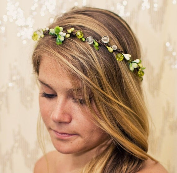 Twisted Green Meadow Jewel Nature Crown