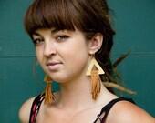 Boho Jewelry, Dramatic Earrings, Leather Fringe Earrings, Triangle Earrings