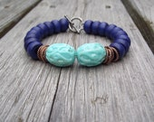 Turquoise & Gold Lucite, Navy and Copper Bracelet - Ready to Ship