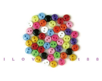 50 pcs 5MM Mini 2 Holes Round Buttons / Plastic Buttons / Sew-through Buttons / A set of 50 pcs mixed colors