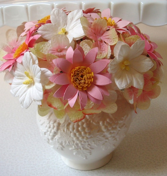 Paper Flower pink and white Paper Flower arrangement  in White  Pitcher Perfect gift 1 anniversary