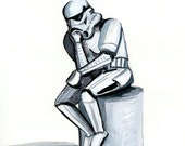 Oops print 8.5x11 Stormtrooper as The Thinker print
