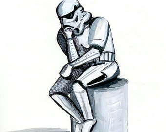 Oops print 8.5x11 Stormtrooper as The Thinker print
