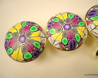 Polymer Clay Cabinet Knobs Pulls unique handmade decorative drawer knobs  set of SIX metal bathroom knobs Color...shiney brass finish...