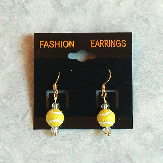14K Gold Plated  - Yellow Tennis Ball Pierced Earrings