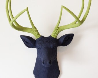 Charcoal & Olive Deer Head Wall Mount