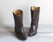 R E S E R V E D  Vintage Men's Cowboy Boots / 1970s Oxblood Brown Leather Western Boots / Size 12 E