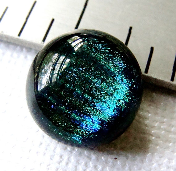 Dichroic Glass Cabochon 13 mm Round Blue Green Beauty