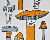 Grey and Mustard Botanical Mushrooms Silkscreen Print