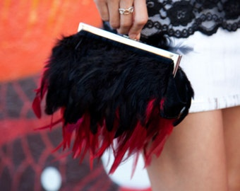 Red Feather Purse Clutch with Rich Red and Black feathers with a Jeweled Clasp