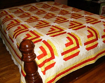 Log Cabin with Corner Star Queen Quilt (Yellow and Orange)