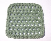 Crochet Mini Washcloth in Sage - Measures 4 x 4 inches