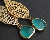 Dangle Earrings-Paisley India-Gold Earrings with Lagoon Blue Bezel Set Glass