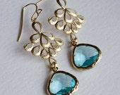 Chandelier Earrings with Bezel Set Aquamarine Glass-Spring Summer Fashion, Bridesmaid Earrings, Peacock Pendant-Beach