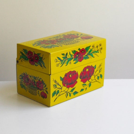 Vintage Yellow Recipe Box with Red Roses