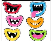 clipart digital clip art - party photo props - Grr Argh Monster Mouths - Digital Clip Art