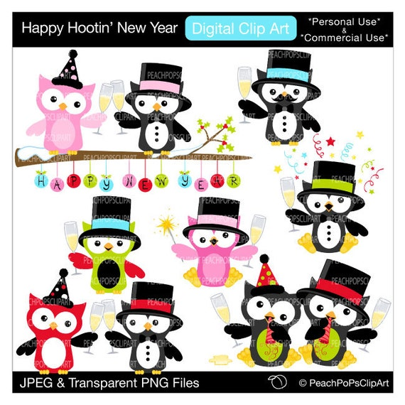 cute owls clipart party eve holiday Happy by peachpopsclipart