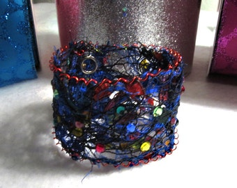 Cuff Bracelet made out of yarn and thread- blue, red, green, yellow, black, OOAK