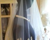 Custom listing for Ivory Ashley Cream/Gold/Champagne Victorian/Edwardian Beaded Embroidered Corded Organza Mantilla Bridal Veil 48x51