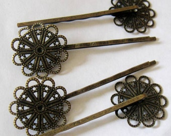 Antique Bronze Filigree Hairpins, TEN, 23mm Tray