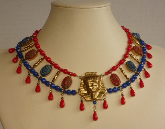 Egyptian Style Tutankhamen Choker in Red, Blue, and Gold