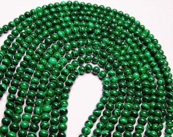 Malachite - 6 mm round beads -1 full strand - 68 beads - Reconstituted