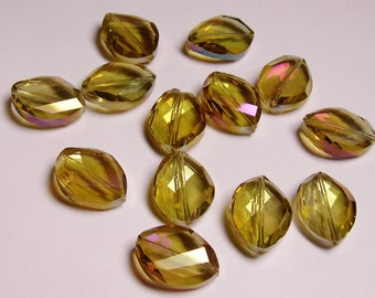 Crystal faceted oval beads 6 pcs 24mm by 18mm AA quality - sparkle yellow topaz with magenta