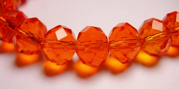 Crystal faceted rondelle -  25 pcs - 10mm by 7mm - AA quality - Tangerine