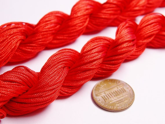 Knotting cord - nylon - beading cord - 50 meter - 164 foot - red