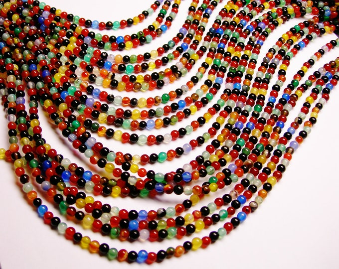 Agate multicolor - 4 mm round beads - 1 full strand - 100 beads - A quality - RFG986