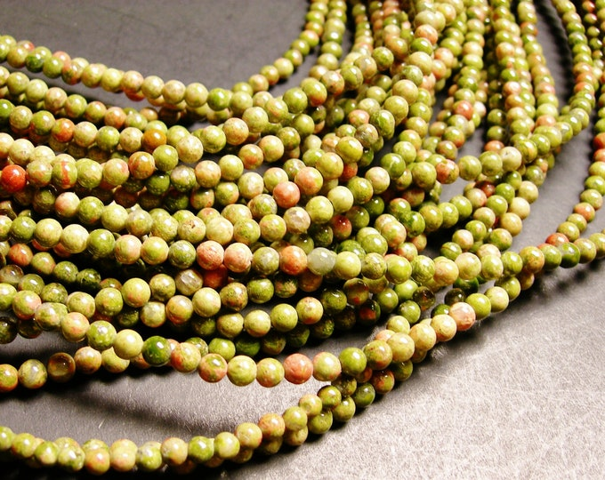 Unakite - 4 mm round beads -1 full strand - 95 beads - A quality -RFG737