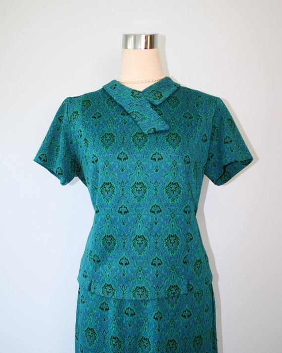 RESERVED For KIMBERLY---1950s Dress / Vintage Double Knit Teal Green Retro Dress Suit / 2 Piece Outfit Top And Skirt / Mad Men