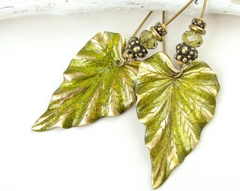 Leaf Jewelry Chartreuse Jewelry Autumn Earrings Fall Jewelry Distressed Leaf Earrings Avocado Olive Green Antique Brass