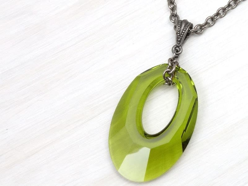 items similar to olive green jewelry statement necklace