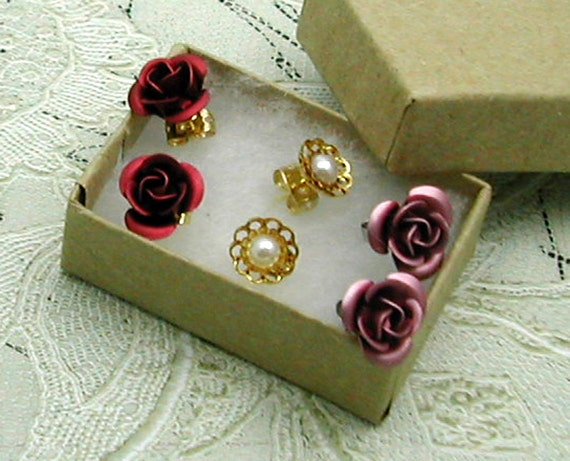 Rose Stud, Pearl Earrings, Gift Box Variety Set, Pink Red
