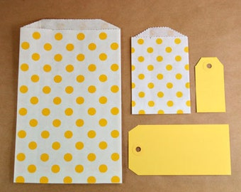 Polka Dot Paper Bag-Middy Bitty Bags-Set of 30-5 x 7.5 Bags-Favor Bags-Treat Bags