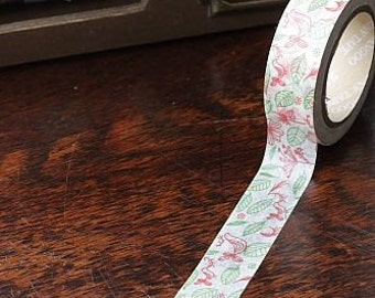 Tape-Washi Tape-Masking Tape-Single Roll-Red Birds with Green leaves and red flowers