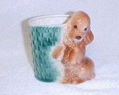 Vintage Cocker Spaniel Dog With Green Basket  Ceramic Planter Figurine Royal Copley Pottery 1940's