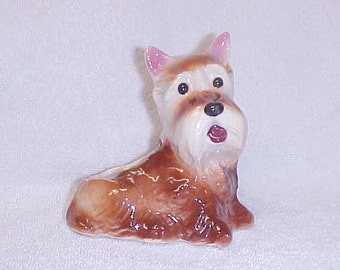 Vintage Brown Scottish Terrier Scottie  Puppy Dog Figurine  Ceramic Doggie Planter Hull Pottery 1940's
