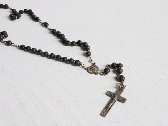 Vintage French Rosary, Black wooden rosary