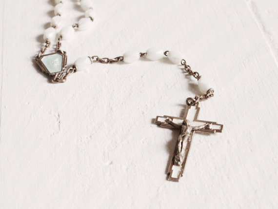 Vintage French Rosary from Lourdes, A white glass rosary