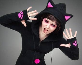 Hoodie black cat pink ears long kitty kawaii