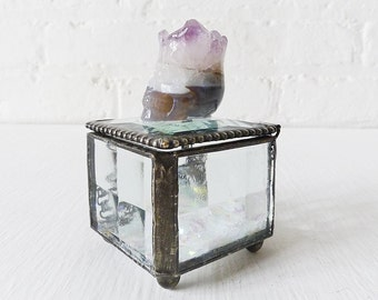 10% SALE - Beveled Glass Jewelry Box with Amethyst Druze Crown Agate Crystal Carved Skull OOAK - Spring Mother's Day Gift