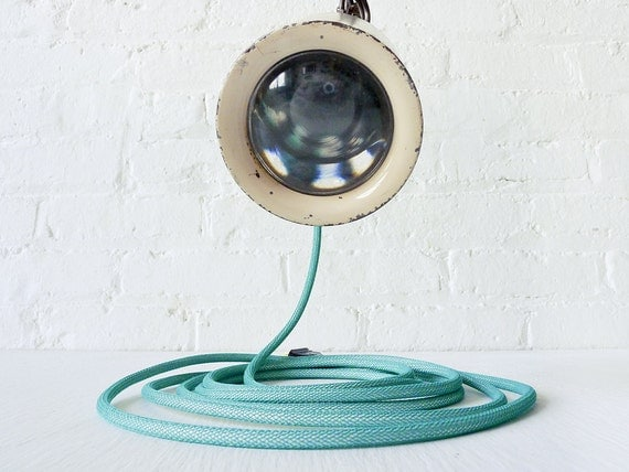 Vintage Industrial Light - Magnify Glass Hanging Clip Lamp w/ Aqua Net Color Cord
