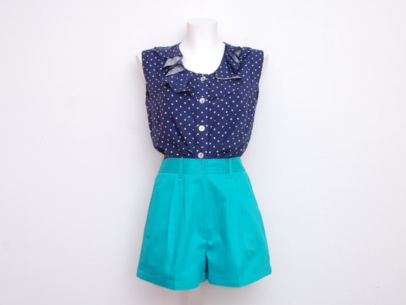 Dead stock Vintage Shorts turquoise high waist Size S